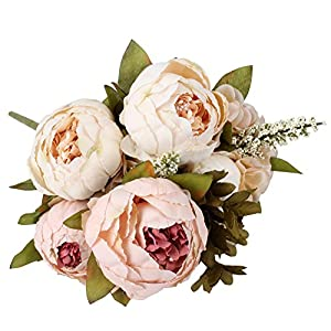 Duovlo Artificial Peony Silk Flowers Fake Flowers Vintage Wedding Home Decoration,Pack of 1 14