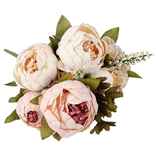 Duovlo Artificial Peony Silk Flowers Fake Flowers Vintage Wedding Home Decoration,Pack of 1