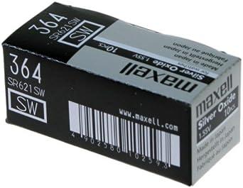 Maxell SR621 SW - 364 - Batería de Óxido de Plata 1.55V - PACK DE 10 UNIDADES: Amazon.es: Relojes