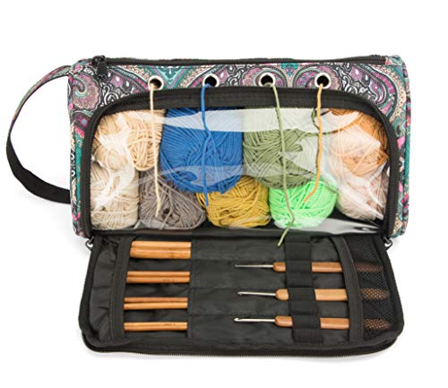 Pacmaxi Yarn Storage Knitting Organizer Carrying Yarn Holder Lightweight Yarn Storage Bag Portable Knitting Organizer for Cotton Yarns, Crochet Hooks, Knitting Needles(Up to 10 Inch) (Blue)