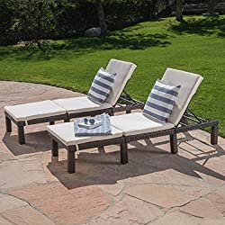 (Set of 2) Estrella Outdoor PE Wicker Adjustable Chaise Lounge Chairs w/Cushions