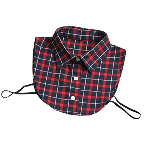 Joyci New Classic Decor Plaids Dickey Winter Blouse Faux Collar Removable (Red)
