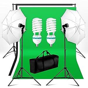 BPS Kit Paragua Fotografía Iluminación Estudio Fotográfico 250W 5500K - Soporte y 3 x Telón de Fondo(1.6x3m) + 2 x Paragua Reflector y Soporte(0.8-2m) + Bolsa, Equipo de luz continua para Vídeo y Fotografía