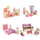 Wood Dollhouse Furniture Dining Room Bath Room Bed Room Kids Bed Room Set