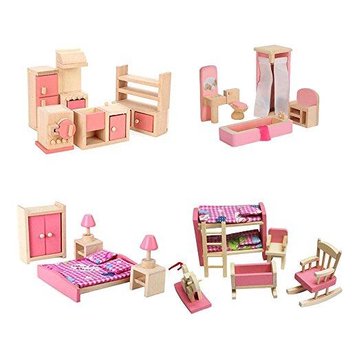 Wooden Dollhouse Furniture Set Including Kitchen Bathroom Bedroom Kid Room for Dollhouse Pink (Kids Dollhouse Furniture)