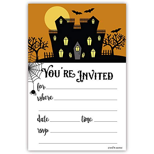 Spooky House Halloween Party Invitations - Fill In Style (20 Count) With -