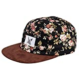 5 panel hat stars - Phoenix Black Beauty Vol. II 5-Panel Cap Rose Black with Flowers Unisex Baseball Hat Suede