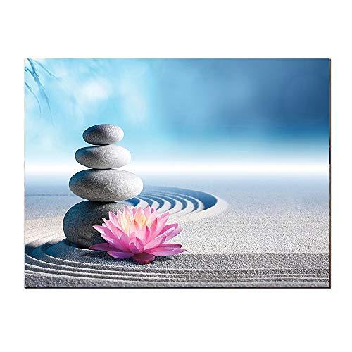 SATVSHOP Paintings-60Lx32W-Spa Ston and Lotus Flower Over Sand Meditation Harmony Balance Flourish Your Spirit Theme Grey Blue Pink.Self-Adhesive backplane/Detachable Modern Decorative Art. (Grey Buddha Canvas)
