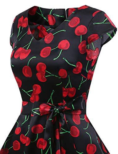 Maniche Gardenwed Cherry Con Partito Vestito Da Annata Abito Corte Black Polka Retrò Rockabilly Swing Cocktail Audery 1950 rrqaAO
