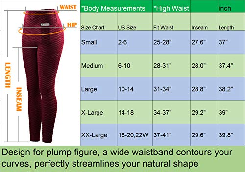 Neleus Women's 2 Pack Tummy Control High Waist Leggings Out Pocket,9036,Black/Grey,S,EU M by Neleus (Image #6)