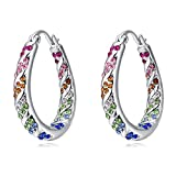 Queenees White Gold-Plated Round-Cut Hoop Earrings with Swarovski Elements Crystals