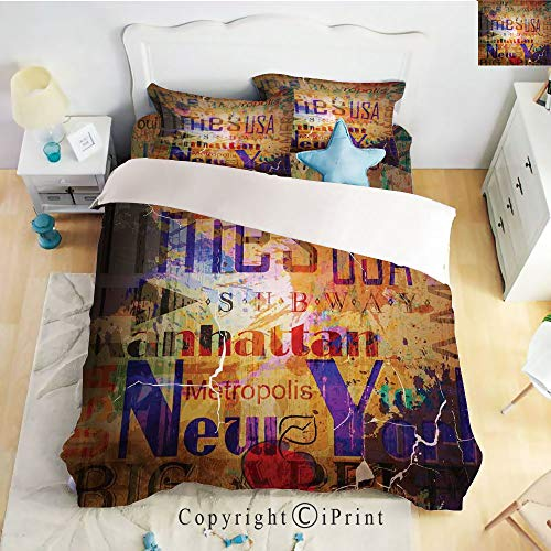 (Deep Pocket Bed Sheet Set,Grunge Style Complex Artsy Montage of NYC Letters on Magazine Cover Popular Brooklyn Borough Life,Multi,Queen Size,Wrinkle Fade Resistant,4-Piece Set)