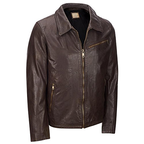 Leather Zippered Jacket (Wilsons Leather Mens Vintage Shirt Collar Leather Jacket W/ Zippered Cuffs L Bro)