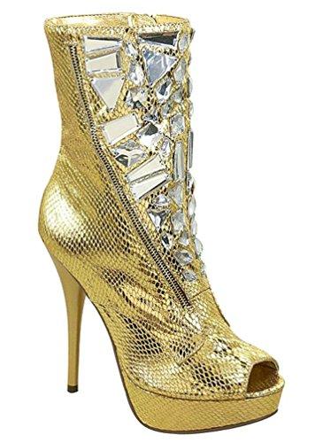 Gold Snake Peep toe Ankle Boots Gems décor - Sz 7 Snake Boot