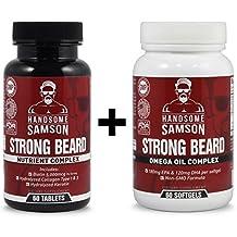 Beard Growth Vitamins & Omega-3 to Grow Thicker Beard Faster - Beard Starter or Patchy Beard
