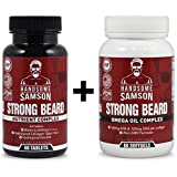 Facial Hair Thickener - Beard Grower Vitamins & Omega-3 Beard Growth Product to Grow Thicker Beard Faster | A best facial hair grower, beard vitamin - for Beard Starter, Patchy Beard or to Grow Thick Beard