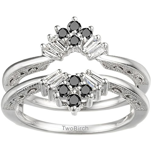 TwoBirch 0.43 ct. Black And White Cubic Zirconia Vintage Fan Style Ring Guard with Millgrained Edges and Filigree Design in Sterling Silver (3/8 ct. twt.) ()