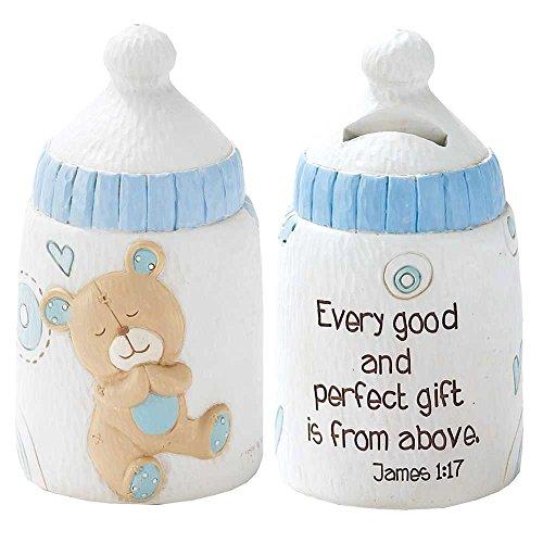 Dicksons Baby Bear Coin Bank for Boy, James 1:17/White ()