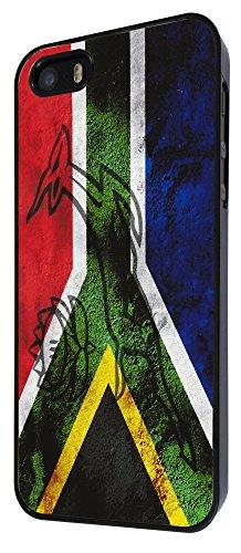 587 - South African Flag Sa Flag Design Design iphone 5 5S Coque Fashion Trend Case Coque Protection Cover plastique et métal - Noir