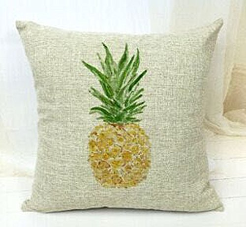 Ink Painting Colorful Watercolor Fresh Tropical Fruit Pineapple Cotton Linen Throw Pillow Case Cushion Cover Home Office Decorative Square 18 X 18 Inches