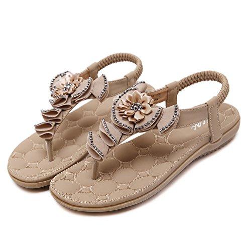 Zicac Damen Sandalen Bohemian Blumen Sandalen Strass Flip Flop Strandschuhe Sommer Antirutsch Elastische Schuhe Aprikose