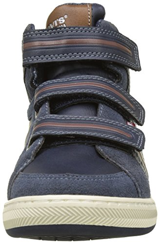 Levis Club Mid Velcro, Zapatillas Altas Para Niños Bleu (Navy/Brown)