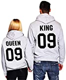 Pxmoda King Queen Couple Hoodies Hooded Sweatshirt Pullover (L, Grey-King)