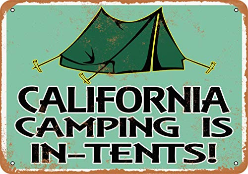 - 10 x 14 Metal Sign - California Camping is in-Tents - Vintage Look