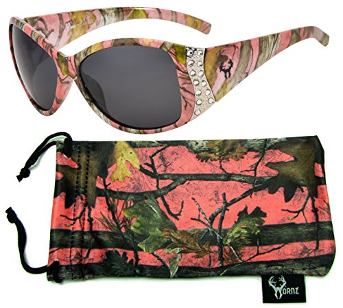 Hornz Pink Camouflage Polarized Sunglasses for Women Rhinestone Accents & Free Matching Microfiber Pouch - Pink Camo Frame - Smoke Lens