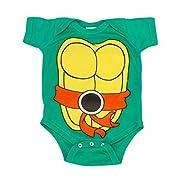 Teenage Mutant Ninja Turtles Green Michelangelo Costume Infant Baby Onesie Romper (Orange Belt) (12 Months)