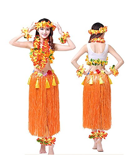 Hawaiian Dance Costumes For Kids (Rosemary Hawaiian Hula Dance Costume Ballet Show Cosplay Dress Skirt Garland for Adult 80CM Full Sets Orange)