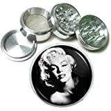 "63mm 2.5"" 4 Pc Aluminum Sifter Magnetic Herb Grinder Marilyn Monroe Design-021"