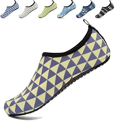 AoSiFu Yoga Beach Socks Blueyellow Aqua Surf Exercise Mens and Shoes Swim Womens Pool Barefoot for Water 1rqa1
