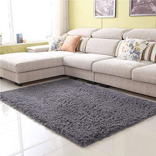 (Junovo Ultra Soft Contemporary Fluffy Indoor Area Rugs, Home Decor Rug Mats Living Room Bedroom Floor Carpet Rugs (4x5.3 Feet, Grey))