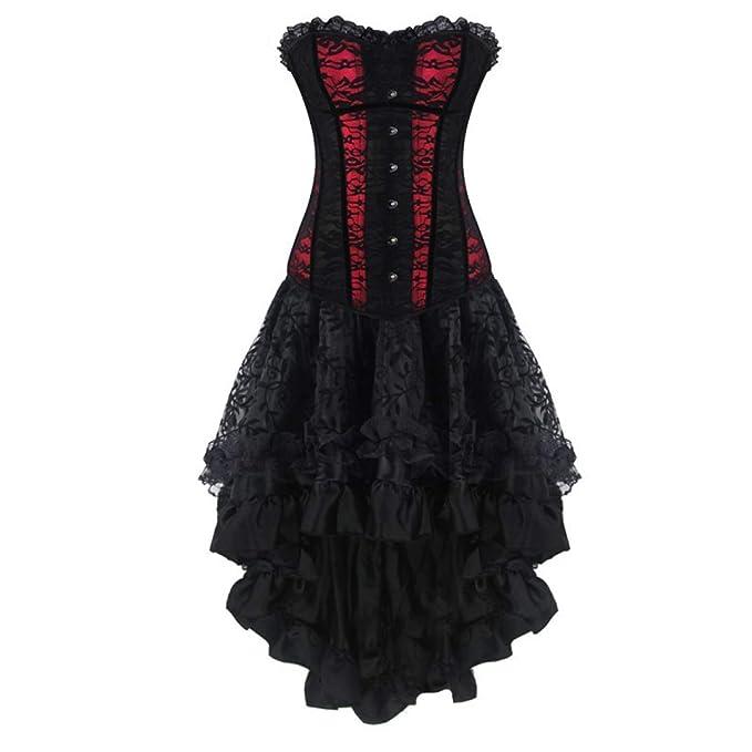 AMURAO Mujeres Steampunk Bustier Vestido Overbust Goth Corset Top ...