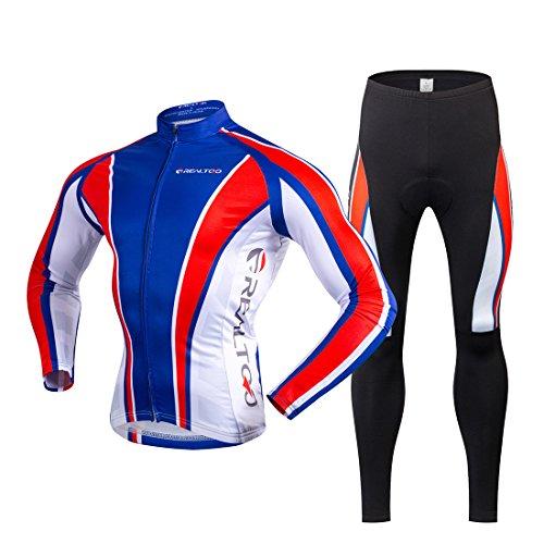 Gwell Maillot de Cyclisme Polaire Hiver Veste Manches Longues + Pantalon Vélo Long Bleu Rouge Noir