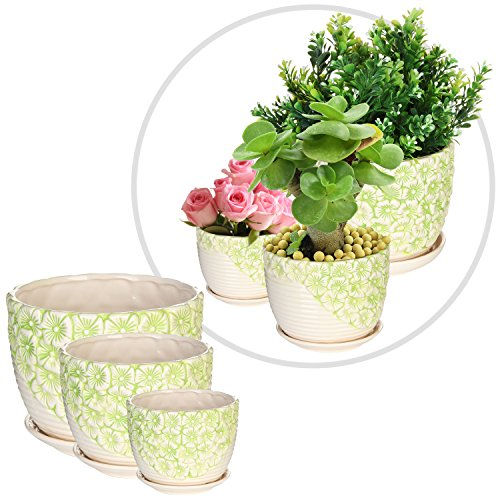 Nesting Ceramic Planter Containers Attached
