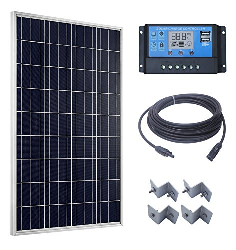[100 Watts Solar Panel + 20A LCD Display PWM Charge Controller + 50 Feet Solar Cable Adaptor + Z Mounting Brackets for Off-Grid RV Boat Kit] (100w Kit)
