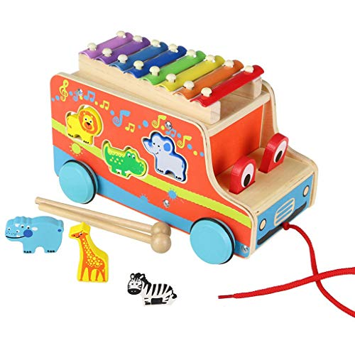Beebeerun Wooden Push Pull Truck Toy Shape Sorter Wooden Music Toy for Baby Kids Toddlers (Red) ()
