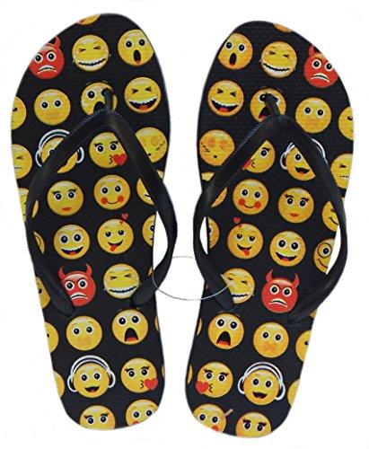 Beaute Fashion Trendy Emoji and Fashion Magazine Cover Print Classic Comfort Black Flip Flop Thong Sandals - Extra Comfortable (10, Emoji)