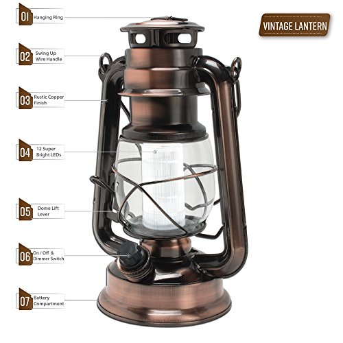 Northpoint Vintage Style Copper Hurricane Lantern With 12