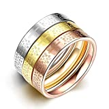 JAJAFOOK Women's 3mm Plain Band Stackable Ring Tri-Colors Stainless Steel Stack Band Rings Set