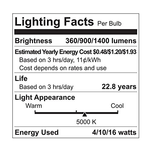 GE Lighting LED 3-Way Light Bulb, 30/70/100W Replacement, A21, 1-Pack, Daylight, Medium Base 3-Way LED Bulb