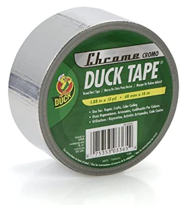Duck Brand 888789 Metallic Colored Duct Tape, Chrome, 1.88-Inch by 15 Yards, Single Roll