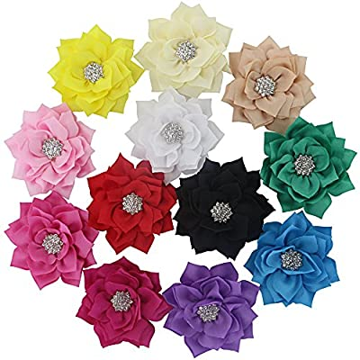 """QingHan Baby Girls 3"""" Fabric Flower Hair Clips Hair Bows With Rhinestone Center Headband Flowers Pack Of 12"""