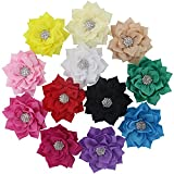 QingHan Baby Girls 3'' Fabric Flower Hair Clips Hair Bows With Rhinestone Center Headband Flowers Pack Of 12