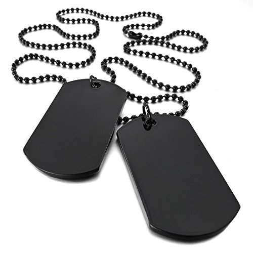 Double Dog Tag Necklace - SODIAL(R) 2 PCS Alloy Pendant Necklace Pendant Black Double Dog Tag plate Army Tribal Style Chain Necklace Man, Woman