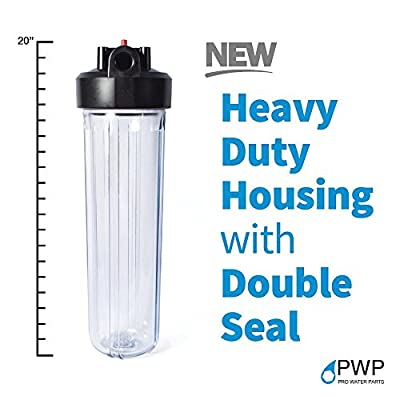 """PWP Big Blue Clear Whole House Filter Housing 1"""" insert W/ Pressure Release 20x4.5in"""