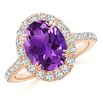 Angara Secured Claw Oval Amethyst and Diamond Halo Ring in Yellow Gold