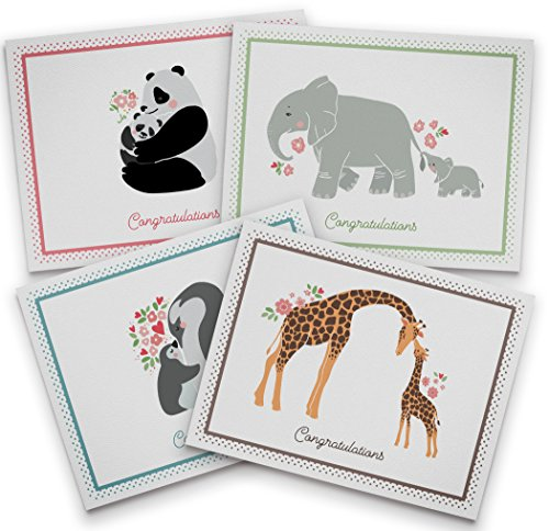 Cute Baby Animal Congratulations Cards - 12 Recycled Cards and Envelopes - 4 Unique Note Card Designs - Made in USA